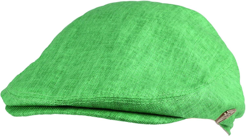 Men's Summer 100% Linen Front Snap Flat Golf Ivy Driving Cap Hat