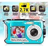 Camara Acuatica Sumergible 2.7K Full HD 48MP Camara Fotos Acuatica Selfie Camara de Pantalla Dual 10 Pies Bajo el Agua