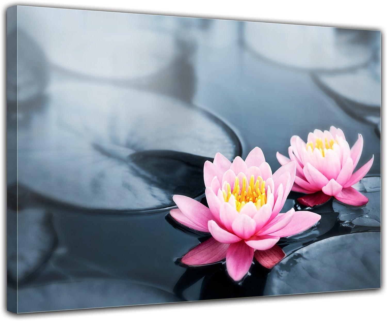Bilderdepot24 Cuadros en Lienzo Flor de Loto 40x30 cm - Enmarcado Listo Bastidor Imagen. Directamente Desde el Fabricante