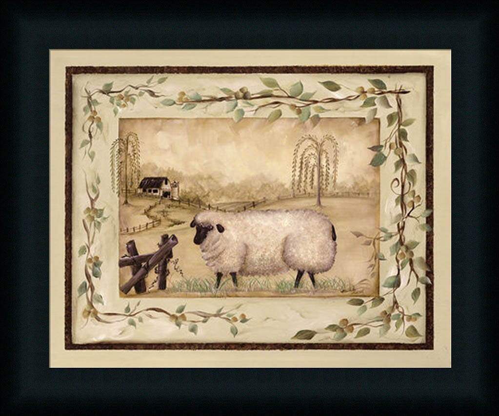 Amazon.com: Spring Sheep Michele Musser Country Primitive Framed Art ...