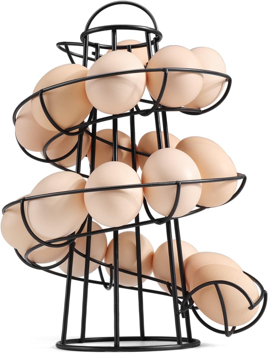 Medium Black Flexzion Egg Skelter Deluxe Modern Spiraling Dispenser Rack - Chrome Plated Freestanding Wire Chicken Egg Storage Organizer Display Holder Basket for Countertop Kitchen