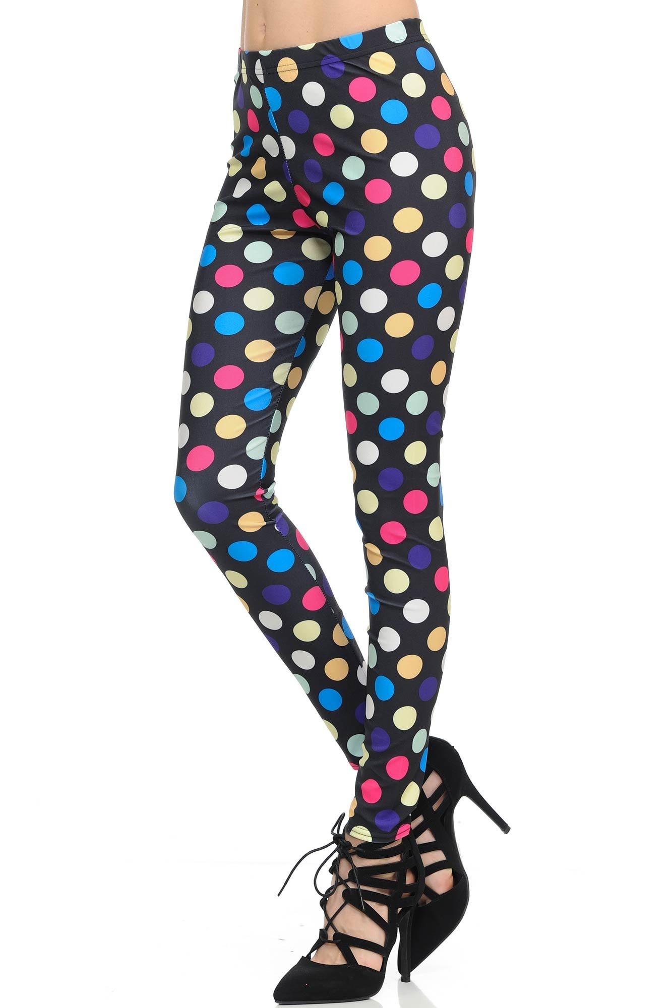 World of Leggings colorful Jumbo Polka Dot Leggings - Large