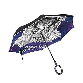 BENNIGIRY - Paraguas reversible para coche con diseño de animales Galaxy Astronaut, doble capa,