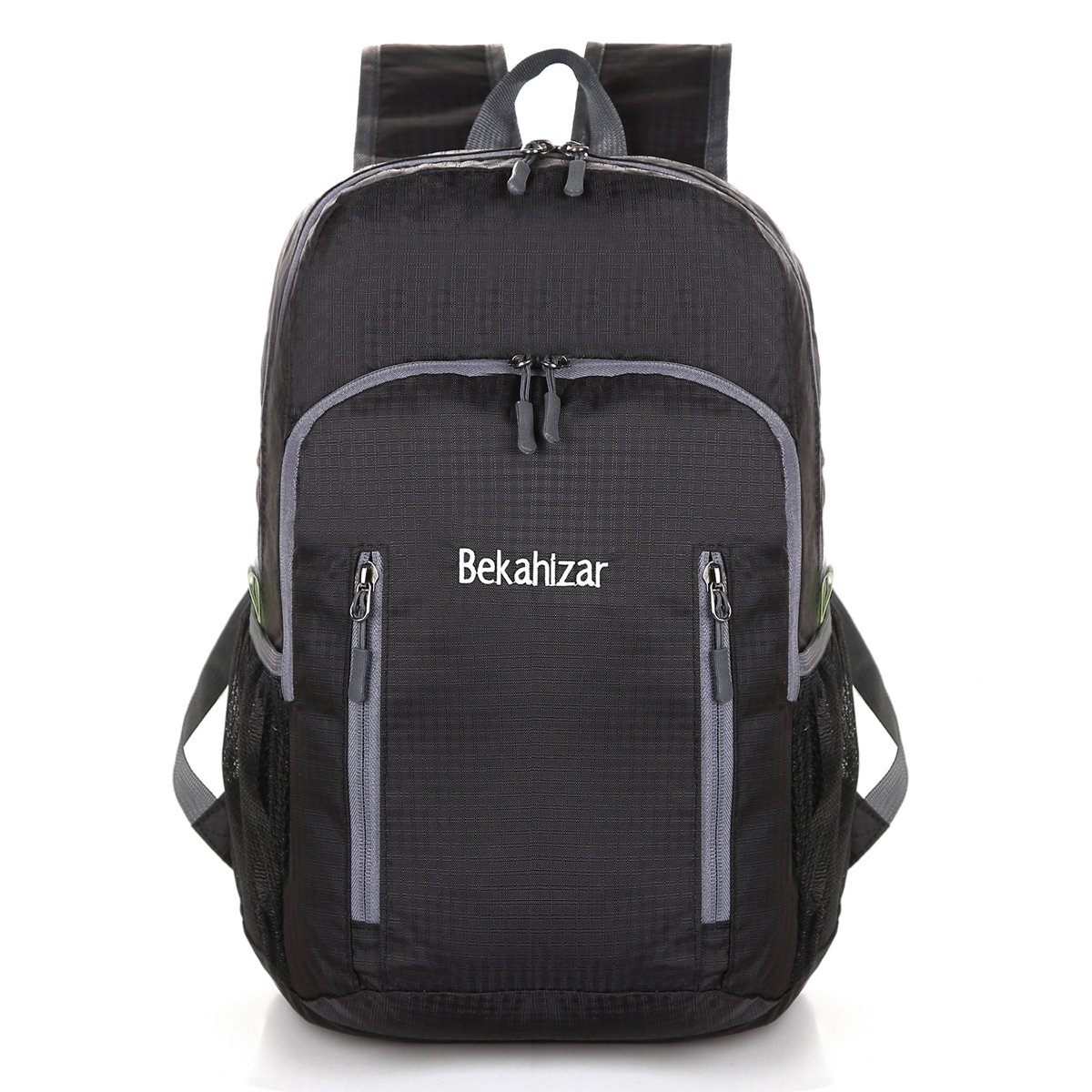 Bekahizar 20L Ultra Lightweight Backpack Foldable Hiking Daypack Water Resistant Travel Day Bag Packable for Kids Men Women Outdoor Sports Camping Day Trips Walking Cycling (Black)