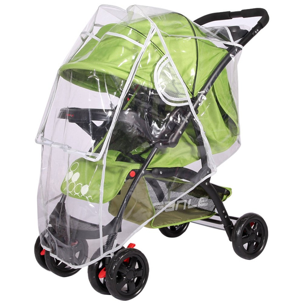 Universal Rain Cover for Most Pushchair Pram Baby Stroller Raincover Rain Shade Pram Chair Buggy EVA Transparent Waterproof Wind Dust Shield Organiser With Zip Front Opening Perfectii