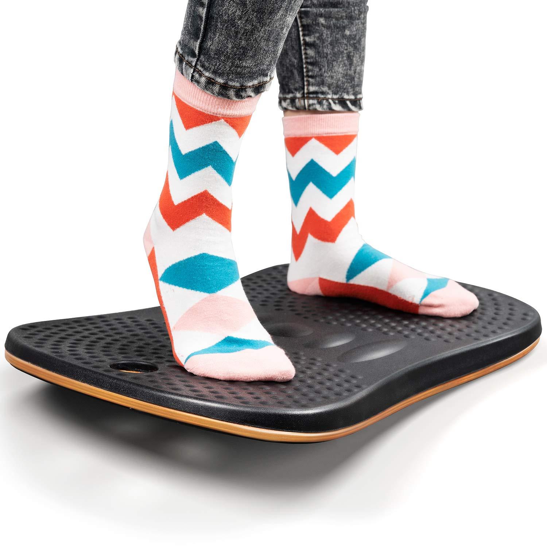 Standing Desk Anti Fatigue Mat - FEZIBOWooden Wobble Balance Board Stability Rocker with Ergonomic Design Comfort Floor Mat