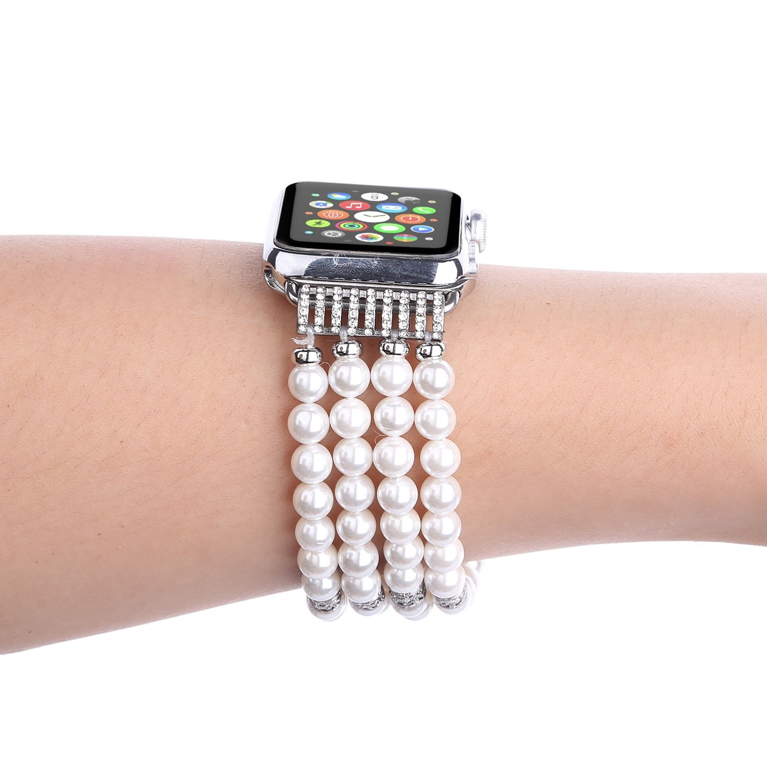 Juzzhou Band For Apple Watch iWatch Series 1/2/3 Replacement Bracelet Handmade Beaded Faux Pearl Natural Bling Stone Crystal Agate Jewels Elastic Stretch Wrist Strap Wristband Wriststrap White 38mm by Juzzhou (Image #5)