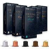 Grano Milano Aluminum Coffee Pods Variety Pack | Nespresso* Original line Compatible Capsules Made in Italy | Medium & Dark R