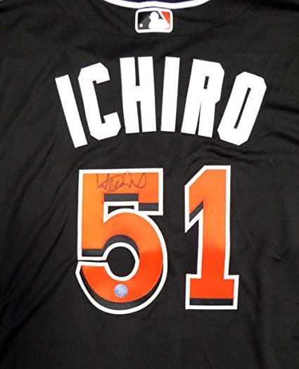 434d5d3b6 MIAMI MARLINS ICHIRO SUZUKI AUTOGRAPHED BLACK MAJESTIC AUTHENTIC FLEX BASE  JERSEY SIZE 48 IS HOLO STOCK
