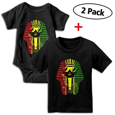 982c05613afe Amazon.com  Egyptian King African Baby Girls Boys Romper + Baby T-Shirt  Bodysuit Outfit Set  Clothing