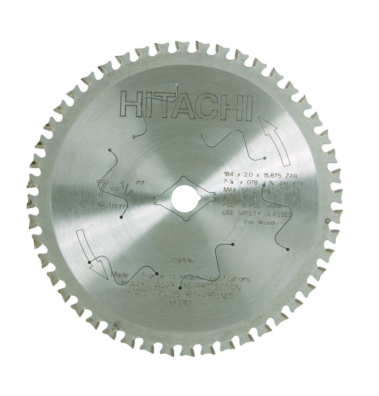 Hitachi 726111 48-Teeth Tungsten Carbide Tipped 7-1/4-Inch TCG 5/8-Inch Dry Cutting Saw Blade by Hitachi