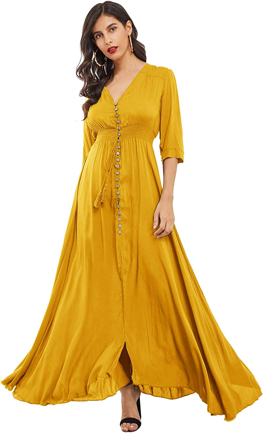 Milumia Women's Button Up V Neck Half Sleeve Split Flowy Plain Party Maxi Dress