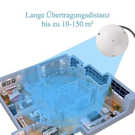 A1 Micr/ófono de Alta sensibilidad Dericam para c/ámara de CCTV//IP//DVR//NVR Blanco Micr/ófono de c/ámara con Divisor de Potencia de 1 Hembra a 2 Macho No se Incluye Fuente de alimentaci/ón