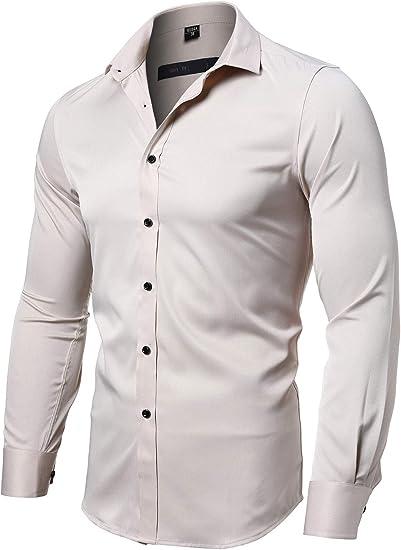Beloved Mens Classic Long Sleeve Thicken Cotton Dress Casual Dress Shirt Top