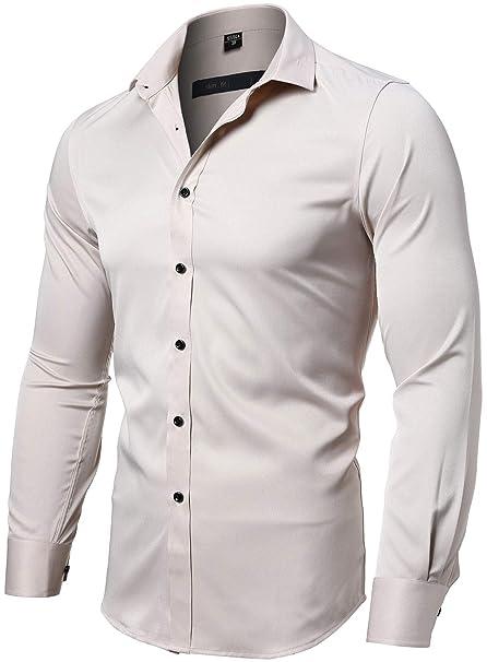 Amazon.com: Camisa de vestir para hombre, ajustada, manga ...