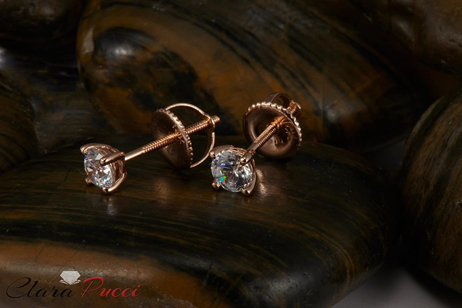 0.4ct Brilliant Round Cut Solitaire Highest Quality Moissanite Unisex Anniversary Gift Stud Earrings Real Solid 14k Rose Gold Screw Back