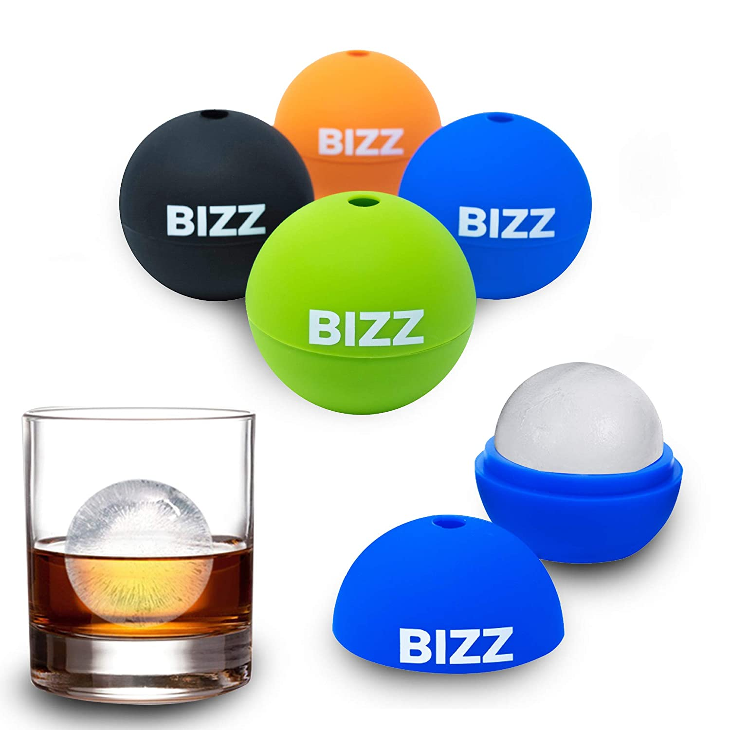 Bizz Ice Sphere Molds (4-Pack) Smooth, Round Balls for Whiskey, Scotch, Cocktails and Non-Alcoholic Beverages | Fun, Reusable, Ecofriendly and Freezer Safe | FDA Approved