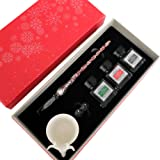 Calligraphy Pen Set - GC QUill Glass Dip Pen - 3 Bottle Inks - Glass holder & Inkwell - 100% Quality Guarantee