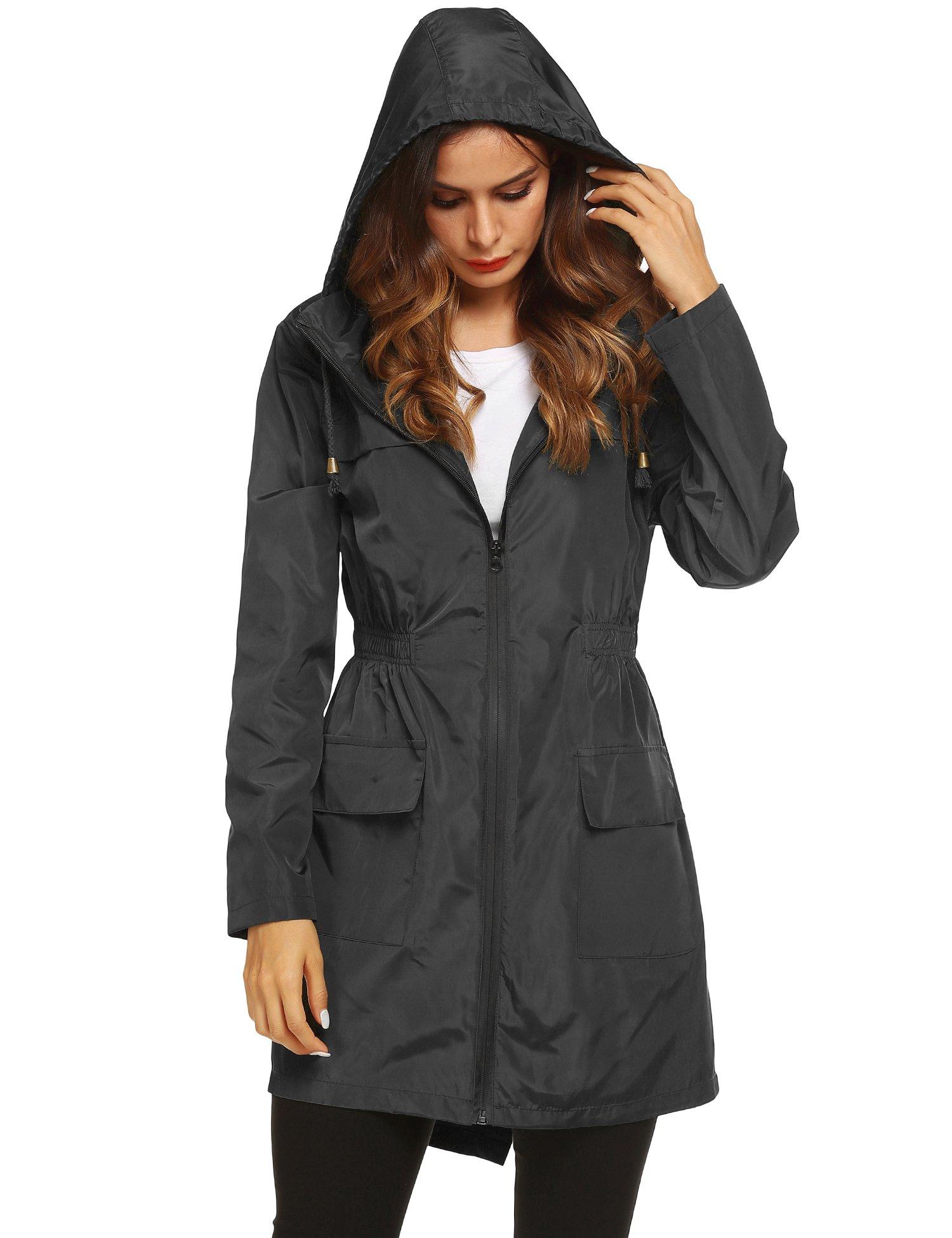 LOMON Women Waterproof Lightweight Rain Jacket Active Outdoor Hooded Raincoat (L, Black1)
