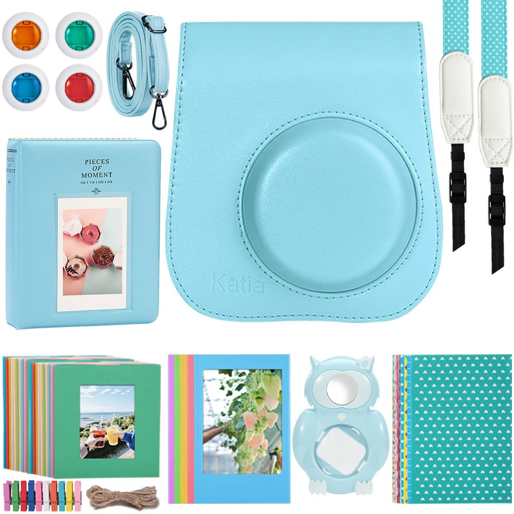 Kaita Instant Camera Accessories Bundle for Fujifilm Instax Mini 9/8 Instant Film Camera. with Protective Case/Strap/Photo Album/Frame/Selfie Len/Filters/Stickes - Blue