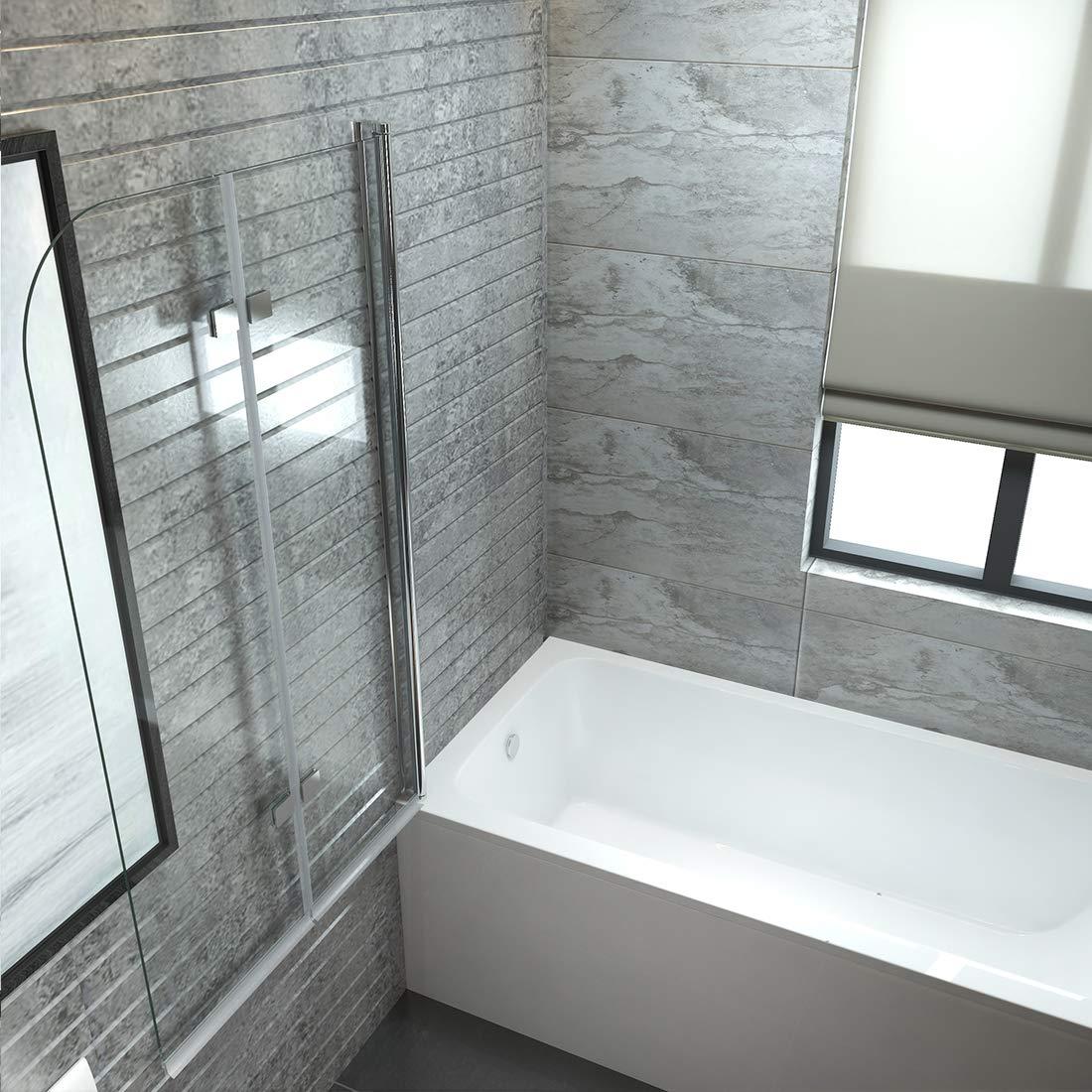 Duschwand Badewannenaufsatz mit 6mm Nano Easy Clean Glas EMKE Duschabtrennung 100x140cm Faltwand f/ür Badewanne