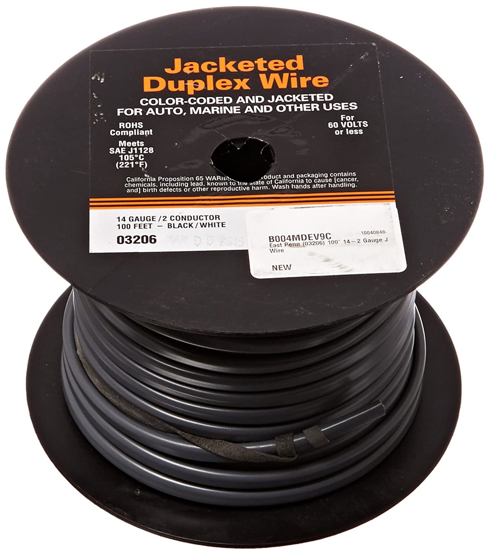 Amazon.com: East Penn (03206) 100\' 14-2 Gauge Jacketed Wire: Automotive