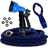 50' Expandable Garden Hose, Kink Free, Strongest, 8-Set Spray, Hook, 3 Layers with Extra PVC and Fabric Layers, 12 Month Manufacturers Warranty