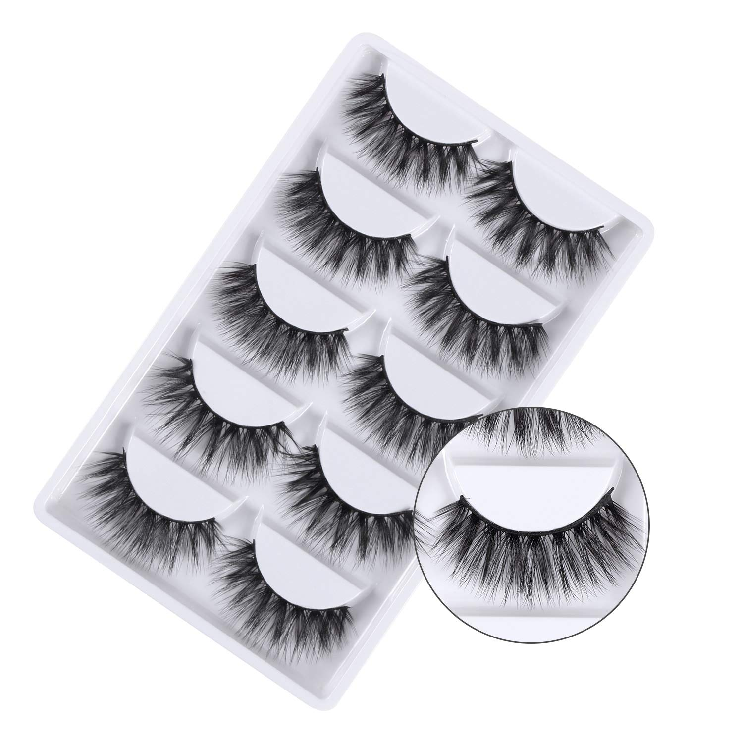 Annomor 3D Faux Mink Fake Eyelashes with a Black Tweezer, Handmade Dramatic Thick Crossed Cluster False Eyelashes Black Nature Fluffy Long Soft Reusable,Style 1 (5 Pairs)