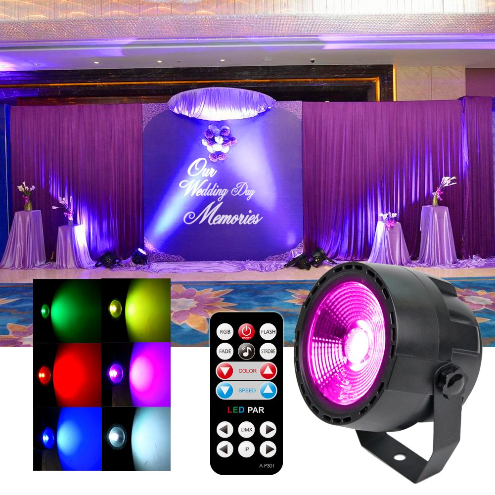 KOOT DJ Stage Light, DMX COB LED Wash Disco Lights with 7 DMX Control and Remote Control, for Wedding Birthday Bar Club Church Party Dance