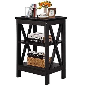 VECELO Sofa Side/End Storage Shelf X-Design Versatile Nightstands Lamp Table Living Room Bedroom Furniture,Easy Assembly, Black