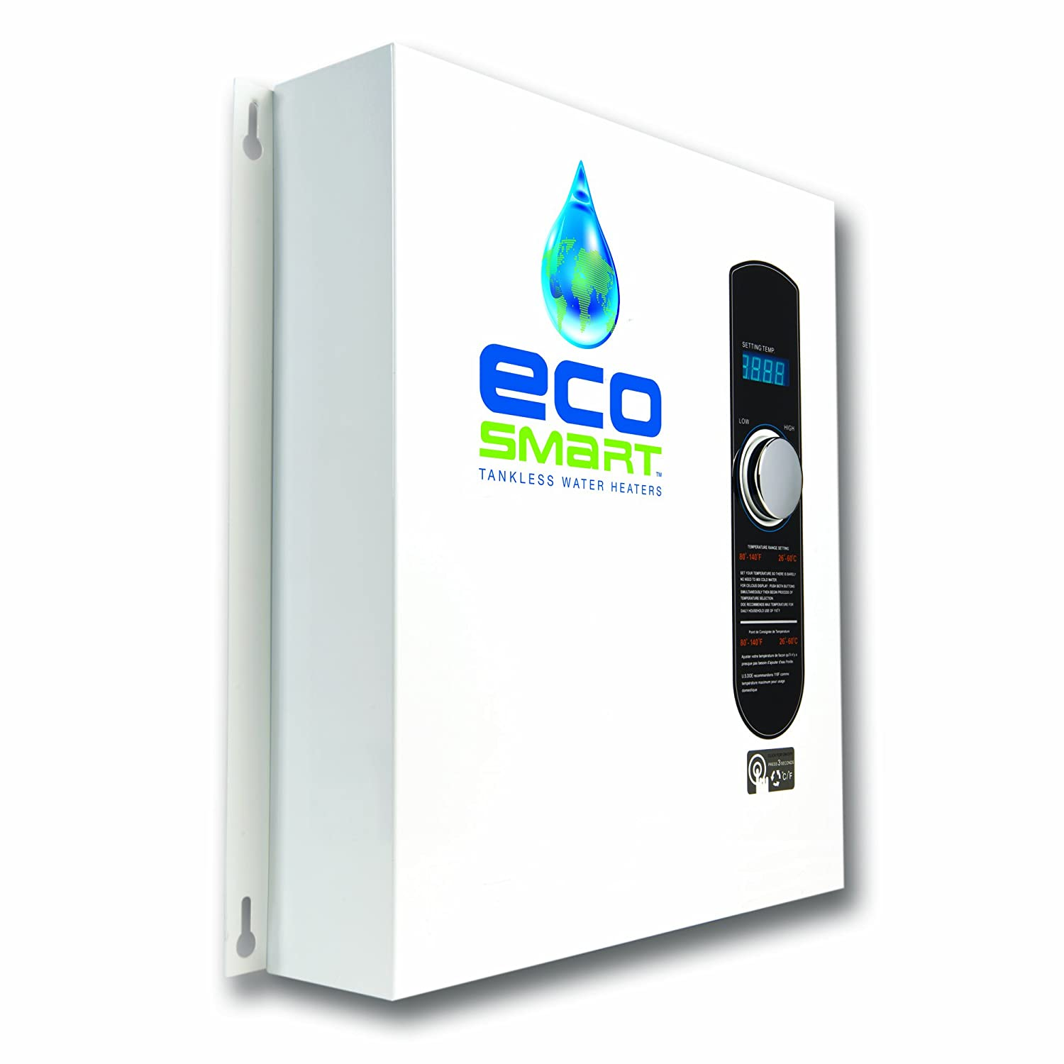 Ecosmart eco 27 electric tankless water heater 27 kw at 240 volts 112 5 amps with patented self modulating technology amazon com