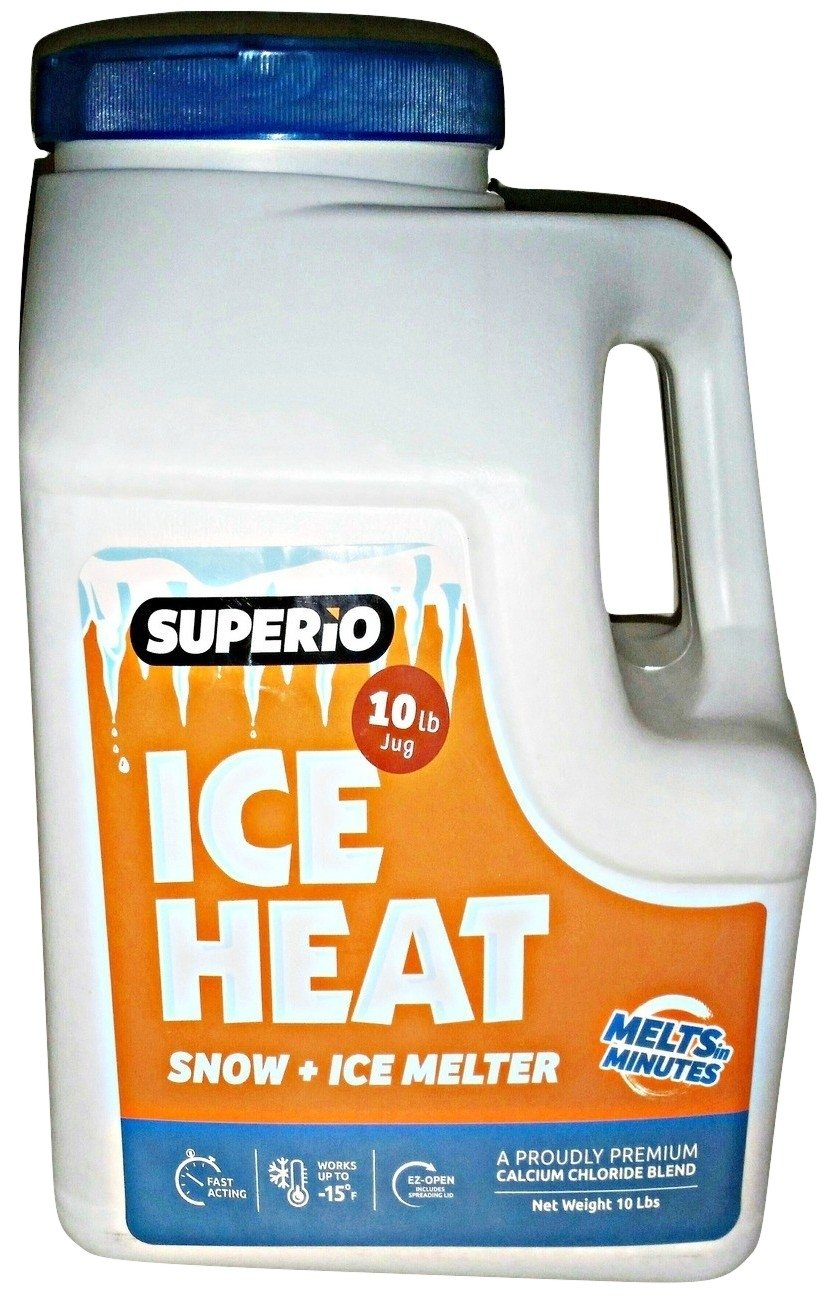 Ice Heat (10 Lb Jug) Snow and Ice Melter, Melts in Minutes, Ez-open, Includes Spreading Lid,a Proudly Premium Calcium Chloride Blend, Ice Melter Jug