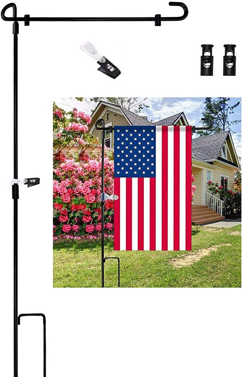 XCH Garden Flag Stand Flagpole, Black Wrought Iron Yard Garden Flag Pole - Holds Flags up to 15