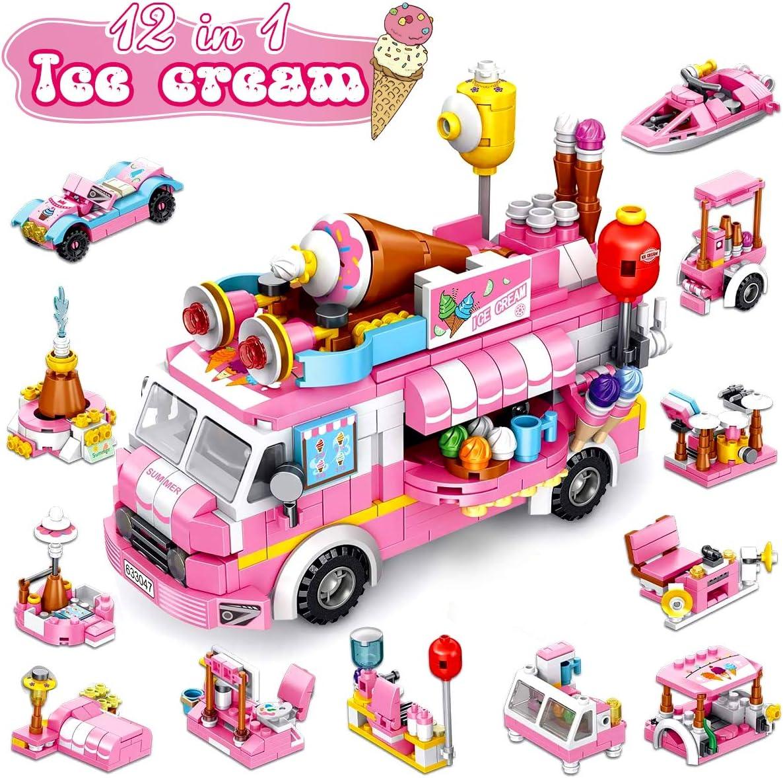 STEM Building Blocks Set 553 PCS Ice Cream Truck Toys for Girls, 25 Models Pink Construction Learning Building Bricks Engineering Blocks Kit for 6-12+ Year Old Kids