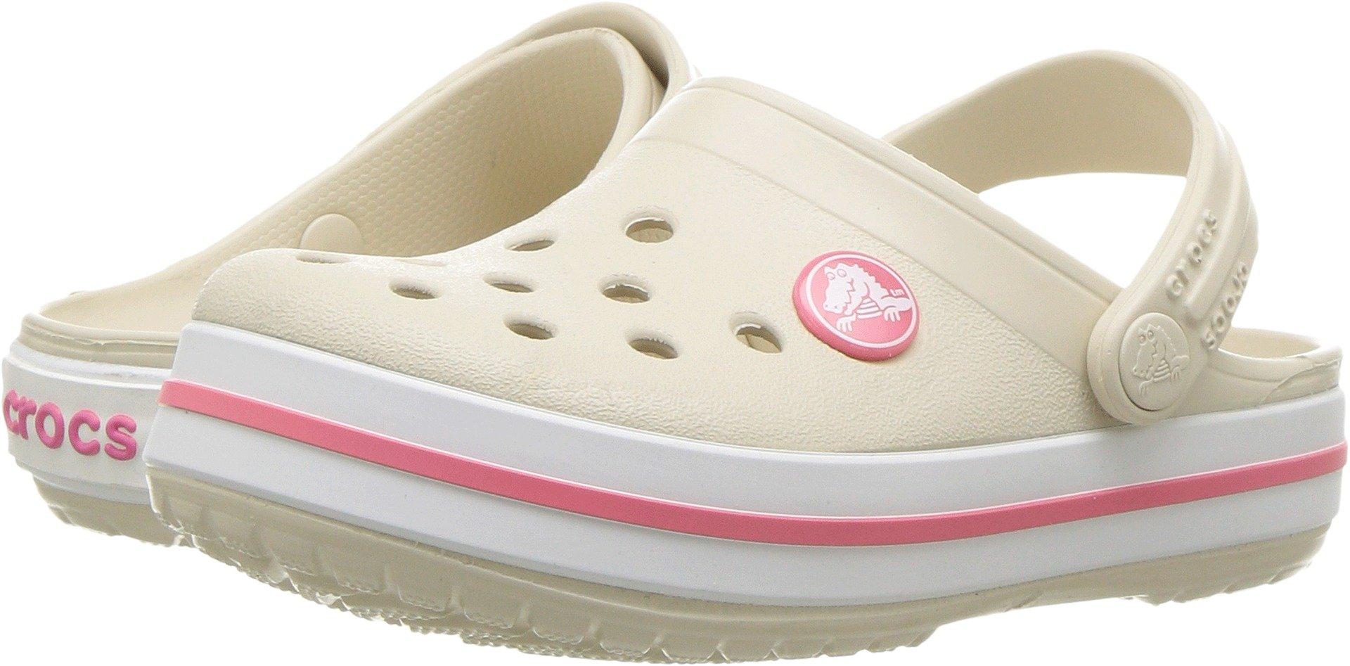 Crocs Girls' Crocband K Clog, Stucco/Melon, 12 M US Toddler