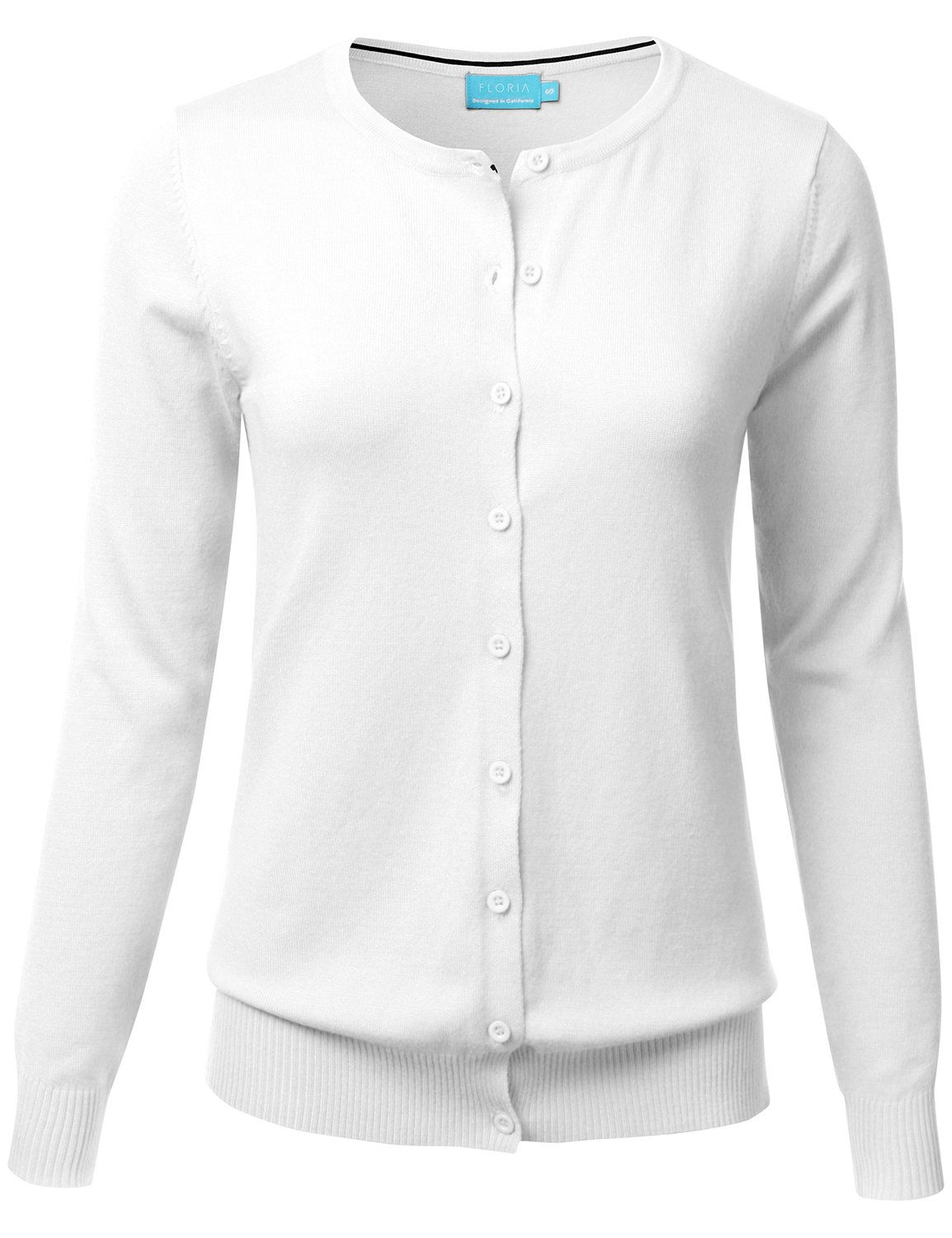 FLORIA Women Button Down Crew Neck Long Sleeve Soft Knit Cardigan Sweater White L