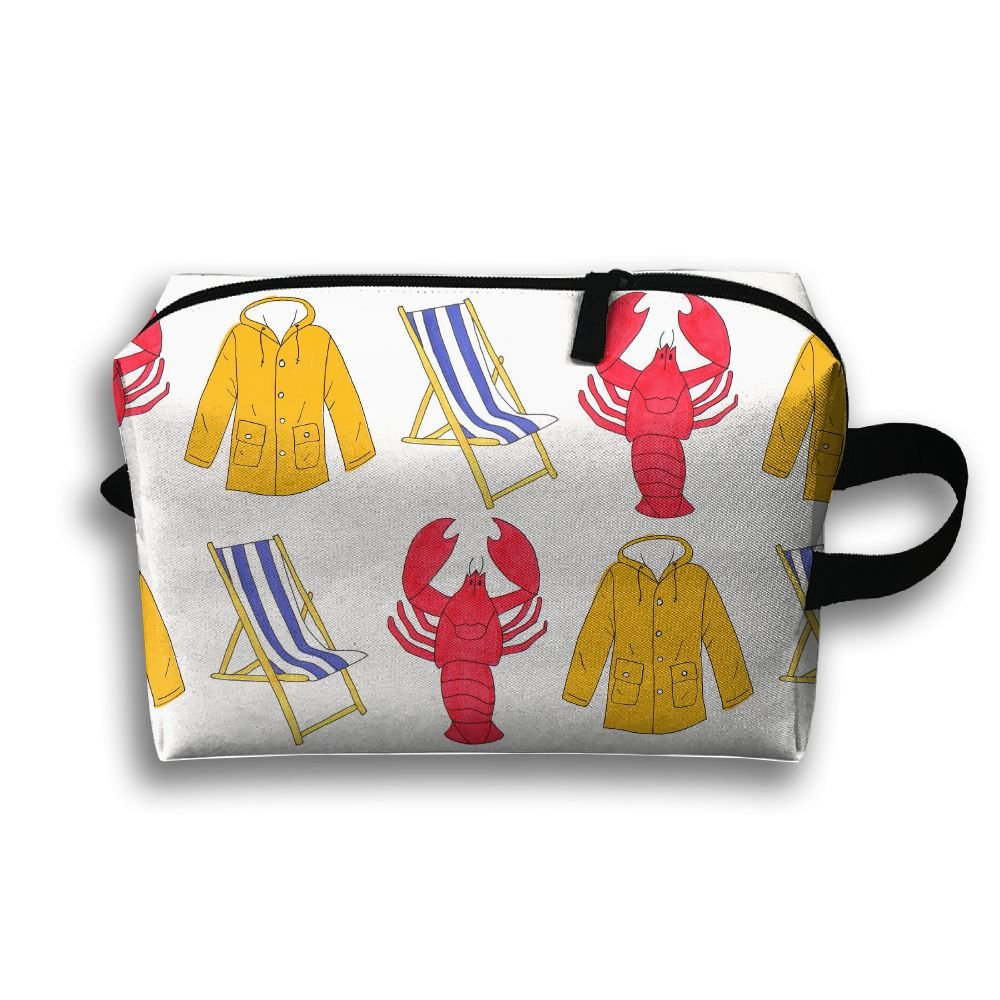 Women's Travel Case Cosmetic Storage Bags Lobster Beach Chair Coat Makeup Clutch Pouch Organizer Bag Pencil Holder