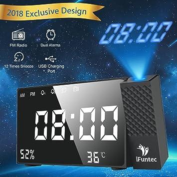 iFuntec Radio Despertador Digital Proyector, FM Radio Reloj Despertador con 7LED Pantalla