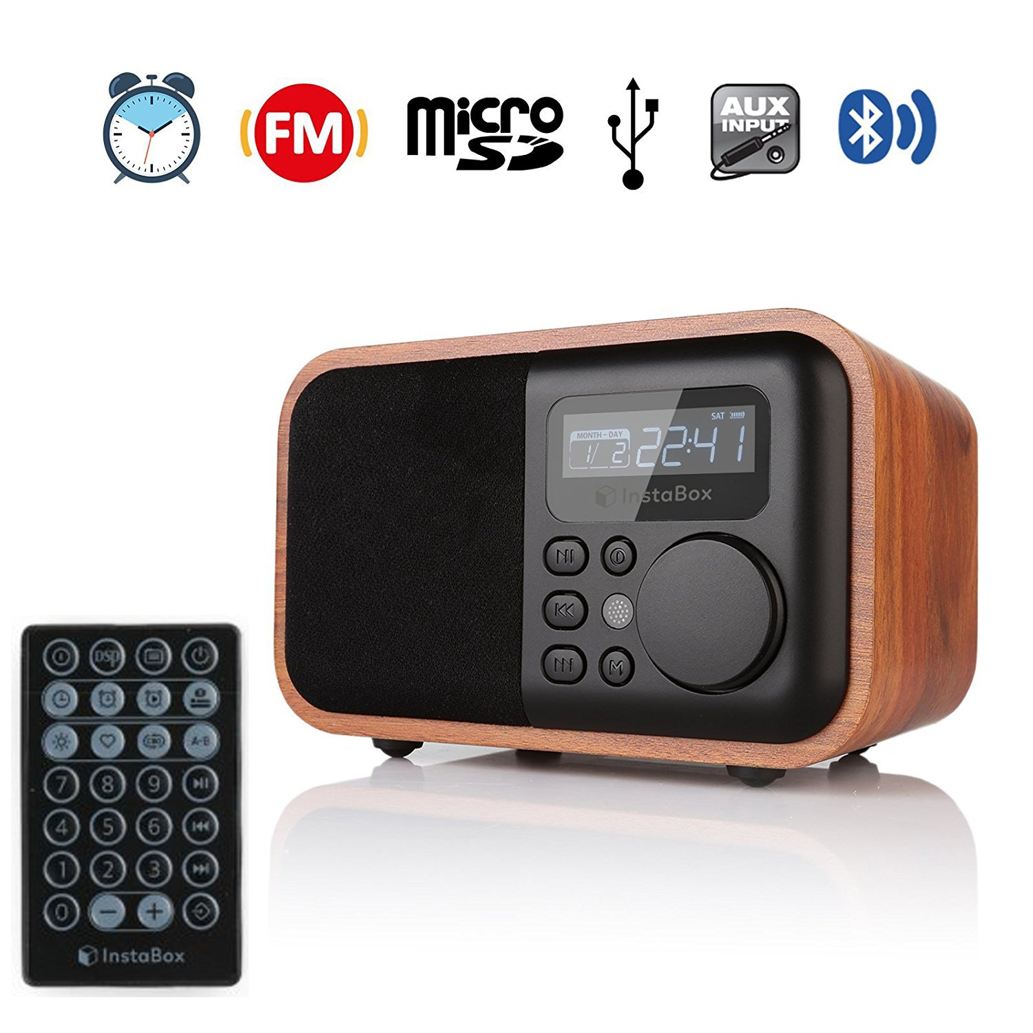 InstaBox i90 Upgraded Version Wooden Digital Multi-Functional Speaker with Bluetooth FM Radio Alarm Clock MP3 Player, Supports Micro SD/TF Card and USB with Remote Control, Brown Wood