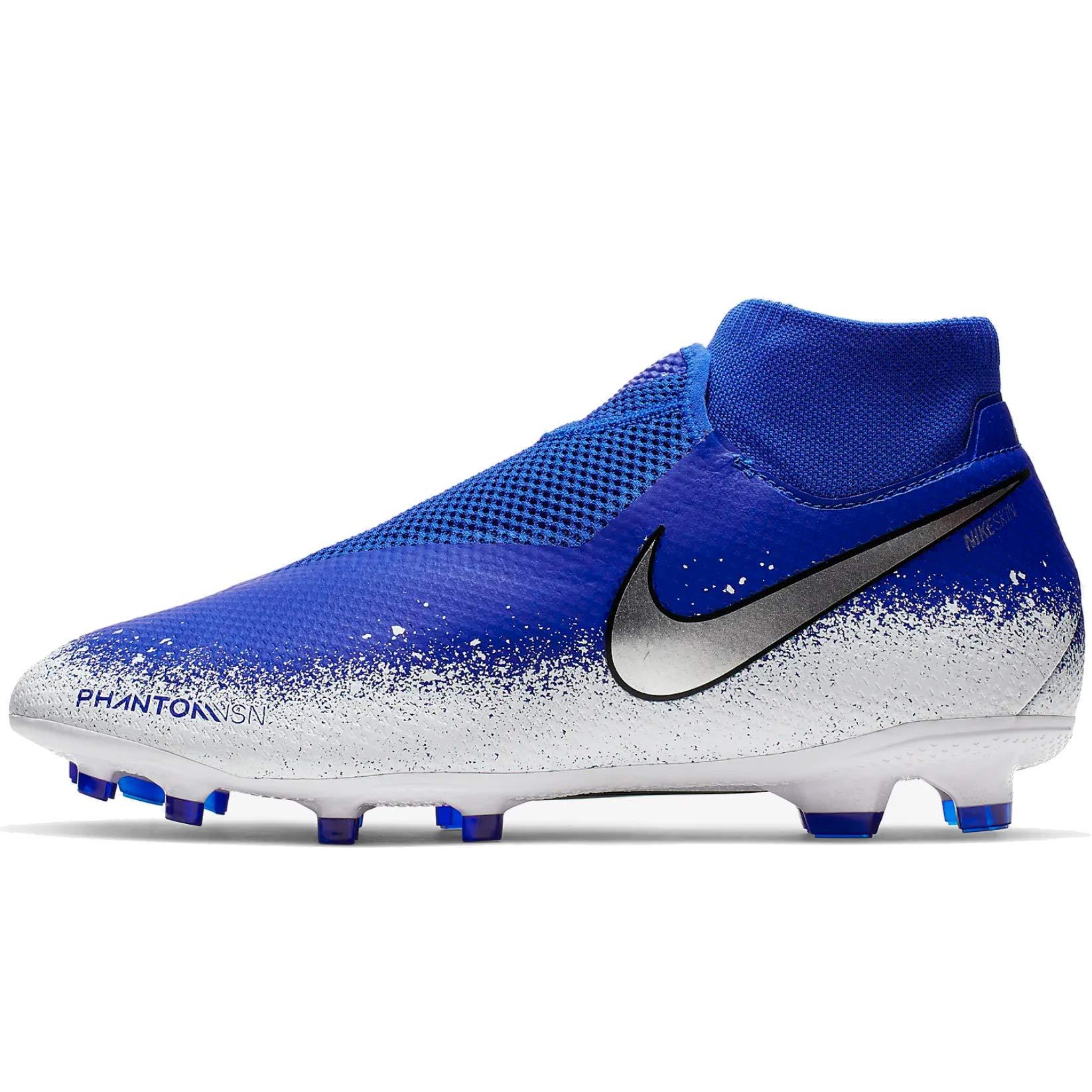 Nike Mens Phantom VSN PRO DF FG Soccer Cleats (10.5), Racer Blue/Chrome White by Nike