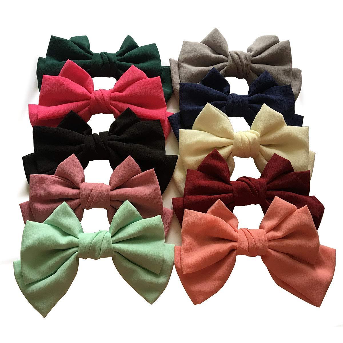 Yazon 10pcs Large Women Fashion Fabric Bows Hair Barrettes Adult Hair Bows Clips …