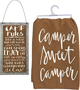 Primitives by Kathy Camping Decor Bundle, Camp Rules Sign with Camper Sweet Camper Towel