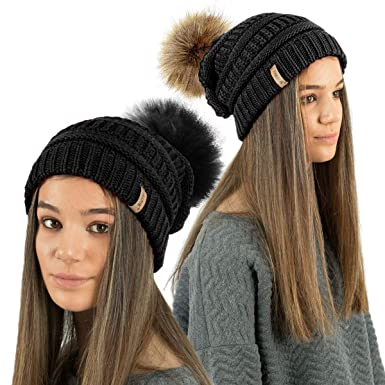 a120fa14fe065 TOSKATOK® Ladies Textured Knit Beanie Hat Detachable Faux Fur Pom Pom - Buy  1 2 Pom Pom-BLACKTWIN  Amazon.co.uk  Clothing