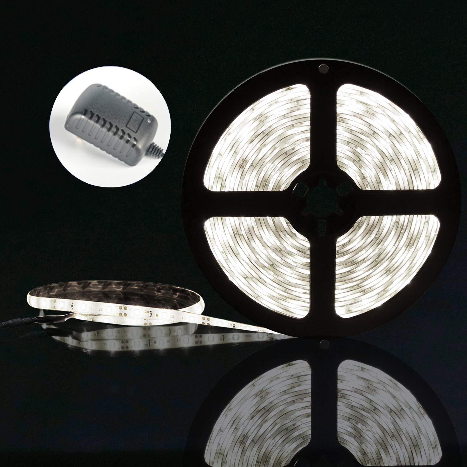 LED Strip Lights with Power Supply-16.4ft/5m Flexible Strip Light, 300 LED Daylight White Under Cabinet Lighting Strip, Waterproof LED Tape for Home Kitchen Car Bar