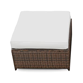 Amazon.de: XINRO® (1er Polyrattan Lounge Hocker - Gartenmöbel Hocker ...