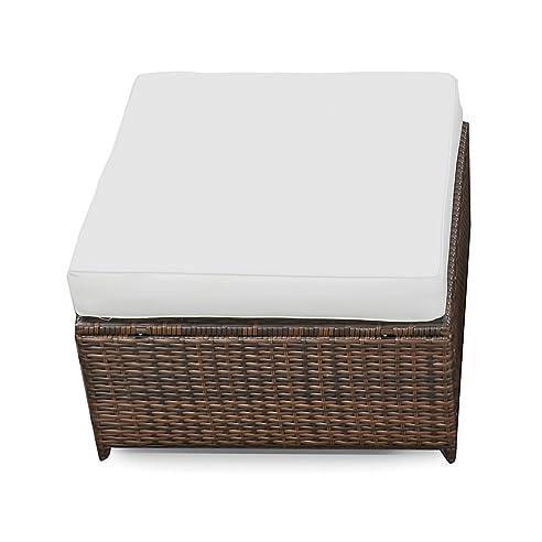 Amazon.de: XINRO (1er) Polyrattan Lounge Hocker - Gartenmöbel ...