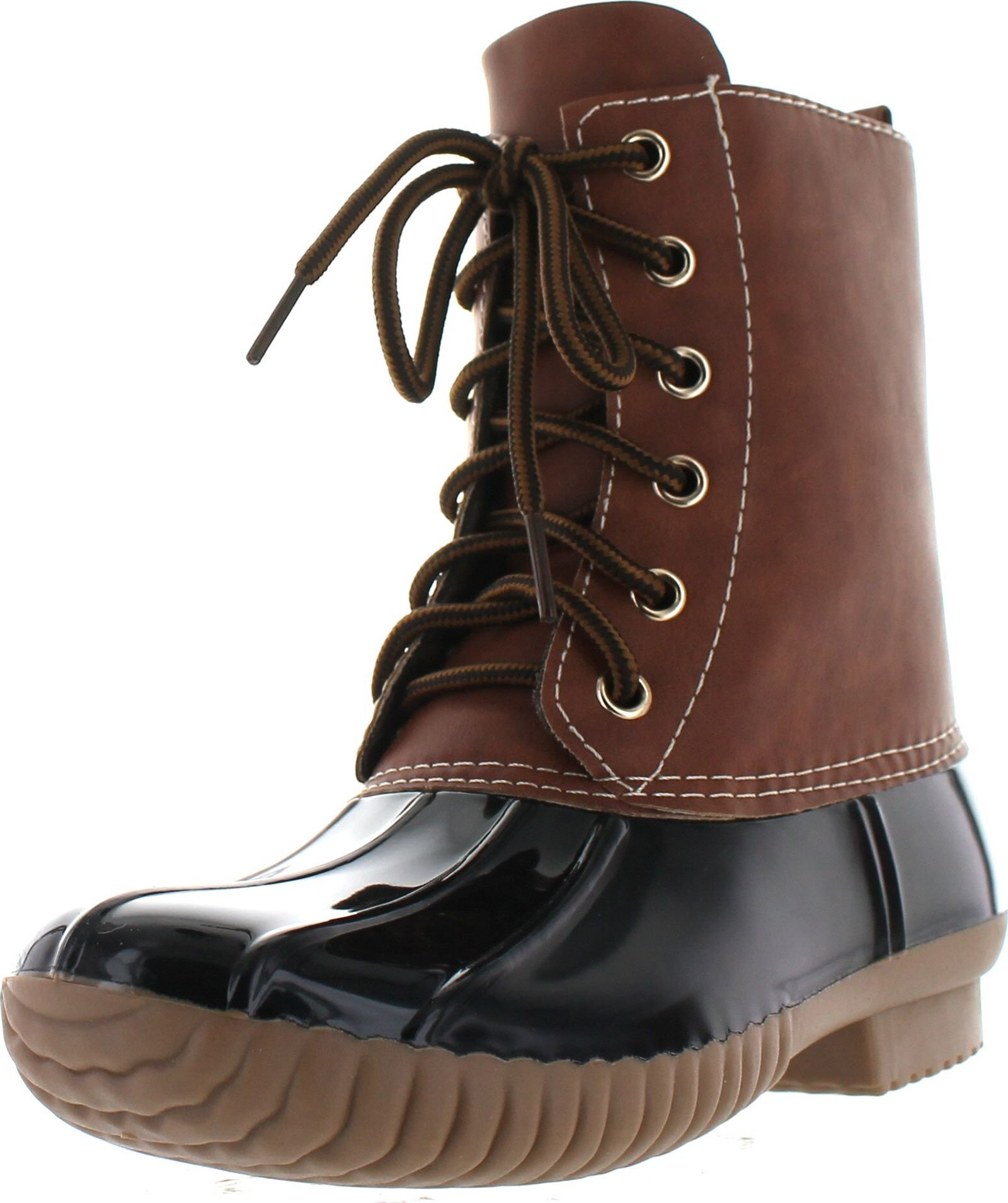 AXNY Dylan Women's Lace Up Two Tone Combat Style Calf Rain Duck Boots,Black,9