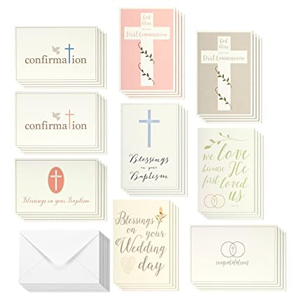 Amazon elegant pastel catholic sacrament greeting cards 9 elegant pastel catholic sacrament greeting cards 9 sacramental greetings for baptism first communion m4hsunfo