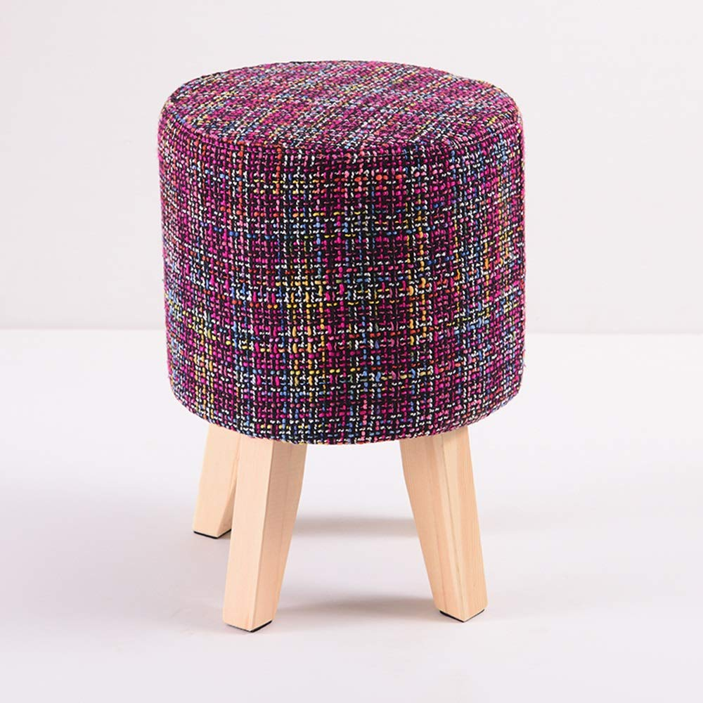Purple Paddia Creative Personality Footstool Upholstered Four-Legged Small Round Stool Linen Fabric Sofa Bench Wear Changing shoes Low Solid Wood Bench Stools Living Room Bedroom (color   Green)
