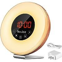COULAX lampe de réveil lumineux en bois,éveil lumineux 7 couleurs et 6 sons naturel ajustable, FM Radio, luminosité 10 nouveaux ajustable avec un Adaptateur